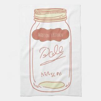 Personalized Mason Jar Kitchen Towel White