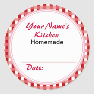 Personalized Mason Jar Lid Labels Red Checks Round Sticker
