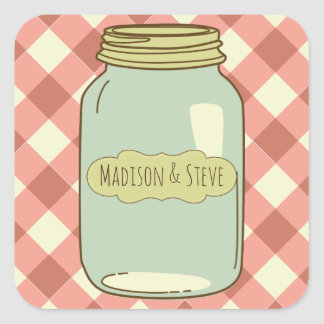 Personalized Mason Jar Stickers Red Gingham