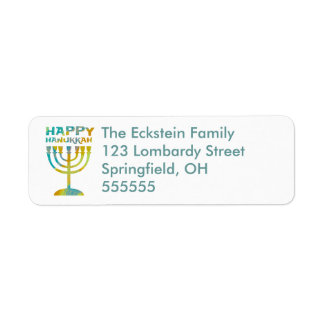 Personalized Menorah Happy Hanukkah Address Labels