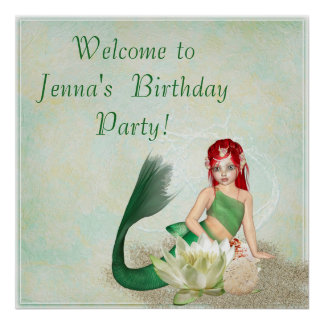 Personalized Mermaid Birthday Party Poster