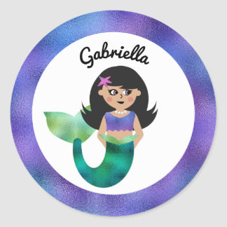 Personalized Mermaid Latino Trendy Faux Foil Girls Round Sticker