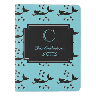 Personalized Mermaid Silhouettes Blue Notebook