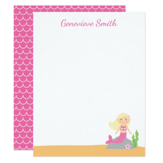 Personalized Mermaid Stationery | Blonde Pink Card