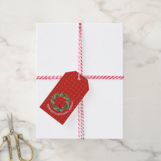 Personalized Merriest Christmas Wreath Gold Hearts Gift Tags