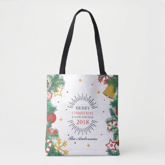 Personalized Merry Christmas and New Year Tote Bag