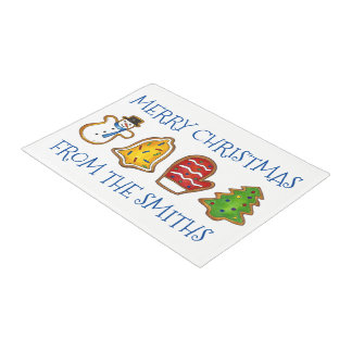 Personalized Merry Christmas Cookie Bell Tree Xmas Doormat
