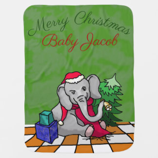 Personalized Merry Christmas Cute Santa Elephant Baby Blanket