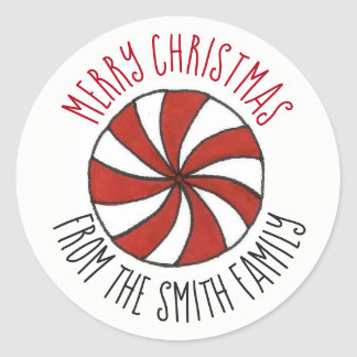 Personalized Merry Christmas Peppermint Mint Candy Classic Round Sticker
