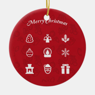 Personalized Merry Christmas Popular Icons set Christmas Tree Ornament