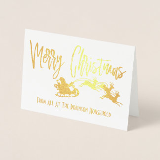 Personalized Merry Christmas Santa Sleigh Foil Card