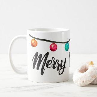 Personalized, Merry Christmas script Watercolor Coffee Mug