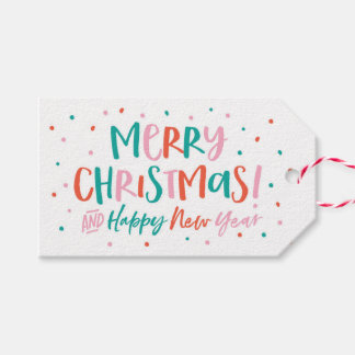 Personalized Merry Christmas snowy gift tags