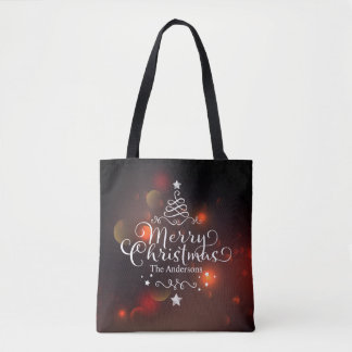 Personalized Merry Christmas Tree Tote Bag