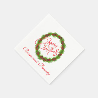 Personalized Merry Christmas Wreath Napkin Disposable Serviettes