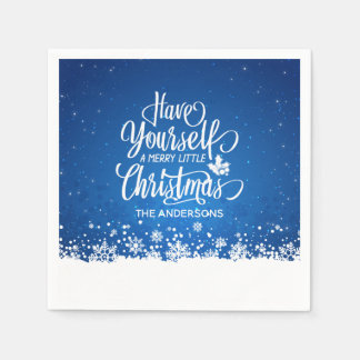 Personalized Merry Little Christmas | Napkin Paper Napkin