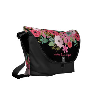 Personalized messenger bag chic floral boho
