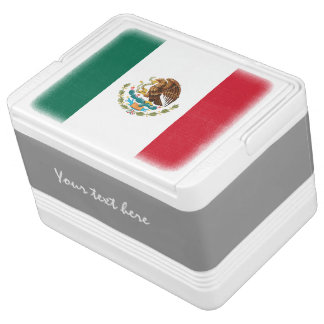 Personalized Mexican flag can cooler box   Mexico