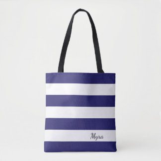 Personalized Midnight Blue and White Striped Tote
