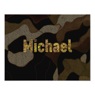 Personalized Military Camouflage Font Michael 11 Cm X 14 Cm Invitation Card