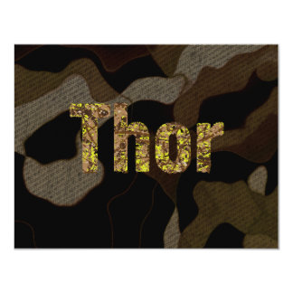 Personalized Military Camouflage Font Thor 11 Cm X 14 Cm Invitation Card