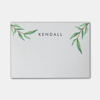 Personalized Minimalist Watercolor Leaves Post-it Notes