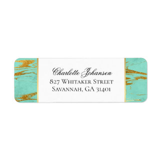 Personalized Mint and Gold Marble Pattern Return Address Label