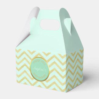 Personalized Mint Green Gold Foil Chevron Pattern Favour Box