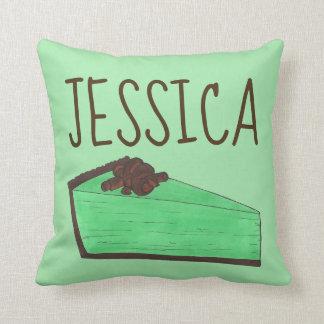 Personalized Mint Green Grasshopper Pie Slice Food Cushion