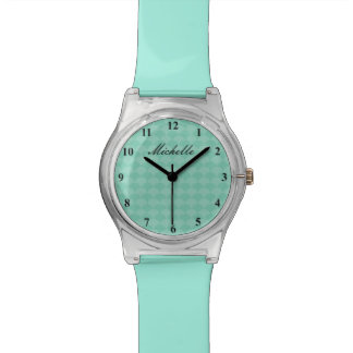 Personalized mint green scallop pattern girl watch