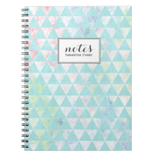 Personalized Mint Green Triangles Pattern Notebook