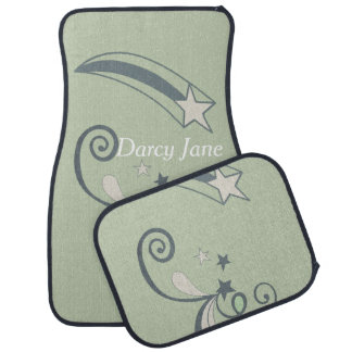 Personalized Mint White Shooting Stars Flourish Car Mat