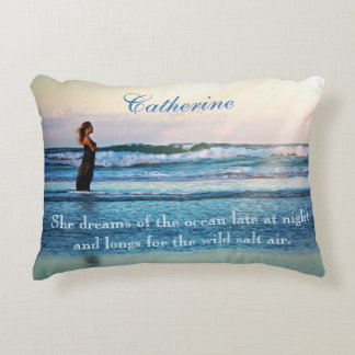 """Personalized Missing The Beach """"She Dreams"""" Decorative Cushion"""