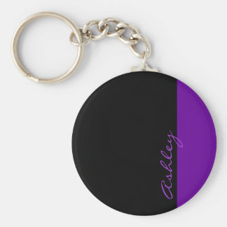 Personalized Modern 519 Purple Basic Round Button Key Ring