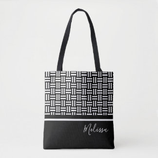 Personalized Modern Black White Geometric Pattern Tote Bag
