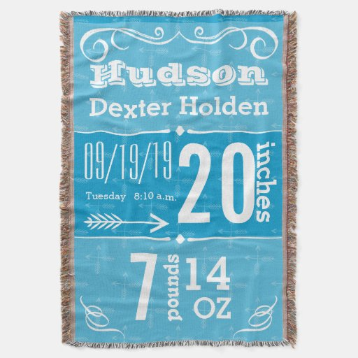 Personalized Modern Blue Birth Stats Throw Blanket