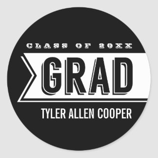 Personalized Modern Bold Grad Envelope Seal Round Sticker