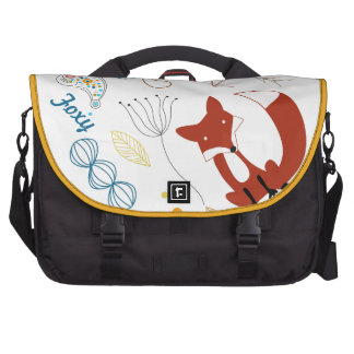 Personalized Modern Fox  Woodland Pattern Laptop Messenger Bag