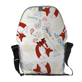 Personalized Modern Fox  Woodland Pattern Messenger Bag