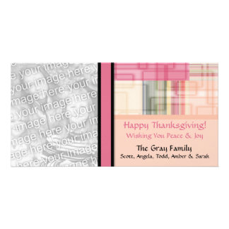 Personalized Modern Geometric Happy Thanksgiving Picture Card