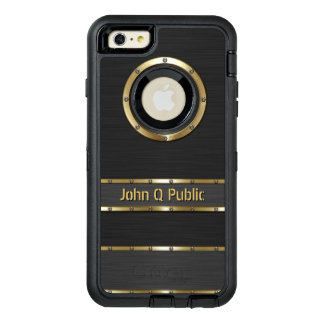 Personalized Modern Gold and Black OtterBox Defender iPhone Case