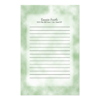 Personalized Modern Green Clouds Stationery
