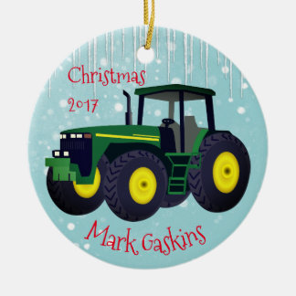 "Personalized Modern Green Tractor ""Christmas 20XX"" Round Ceramic Decoration"