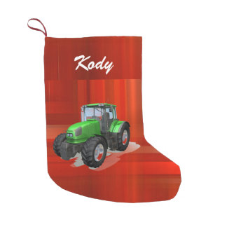 Personalized Modern Green Tractor on Red