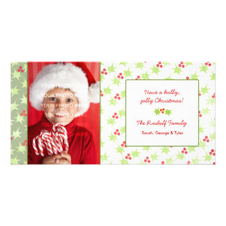 Personalized Modern Holly Christmas Photo Cards