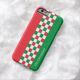 Personalized Modern Italian Racing Checks Barely There iPhone 6 Case