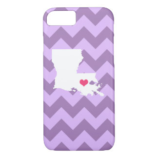 Personalized Modern Lilac Chevron Louisiana Heart iPhone 7 Case