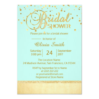 Personalized Modern Mint Gold Bridal Shower Card