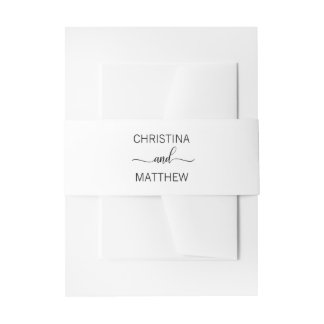 Personalized Modern NAME Black White Wedding Invitation Belly Band