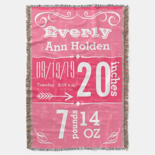 Personalized Modern Pink Birth Stats Throw Blanket